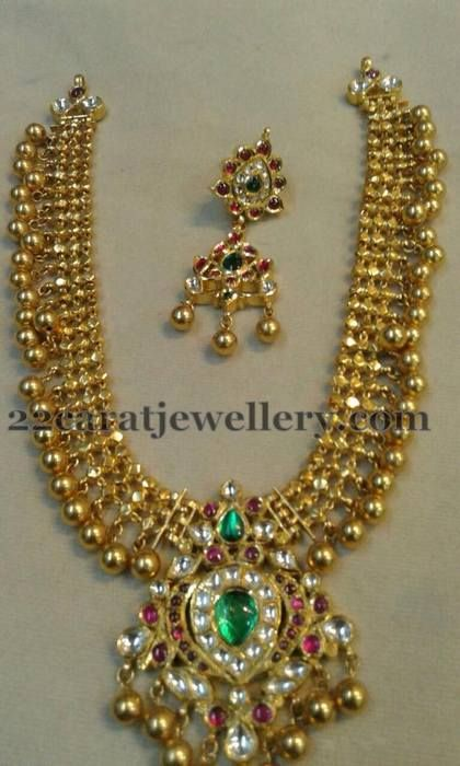 Antique Work Gold Beads Necklace | Jewellery Designs