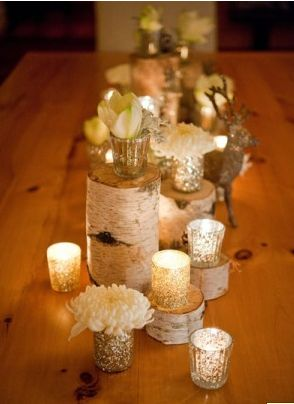 Woodland Winter Centerpiece with Deer, Birch Cuts, Pine Cones and Candlelight | elegant winter wedding centerpiece
