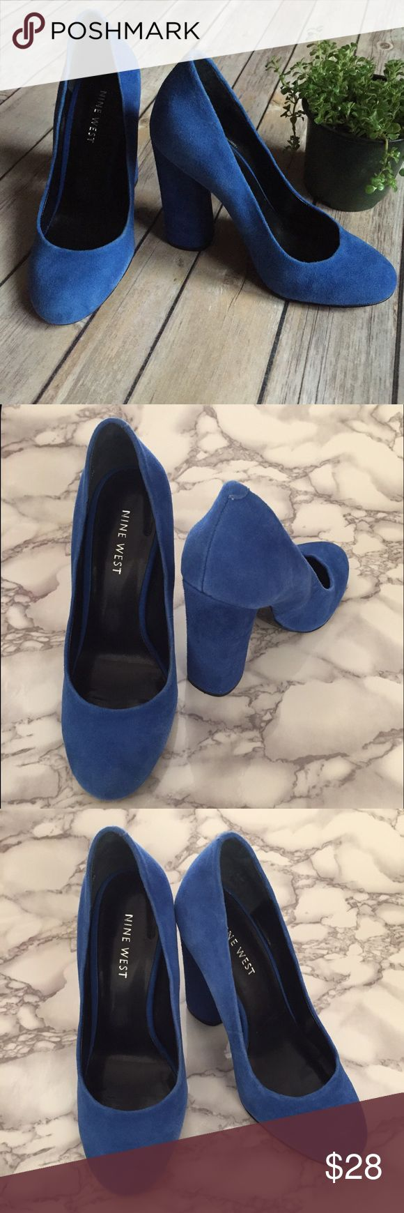 """👠 Nine West Blue Suede Pumps 👠 These are the real """"blue suede shoes"""" 🎶 These pumps are Nine West and a size 5 1/2. The heel is 5"""". No major wear on these. They are true beauties. 👠 👠 Nine West Shoes Heels"""