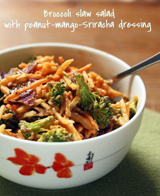 Broccoli slaw salad with peanut-mango-Sriracha dressing: flavor explosion in a bowl.