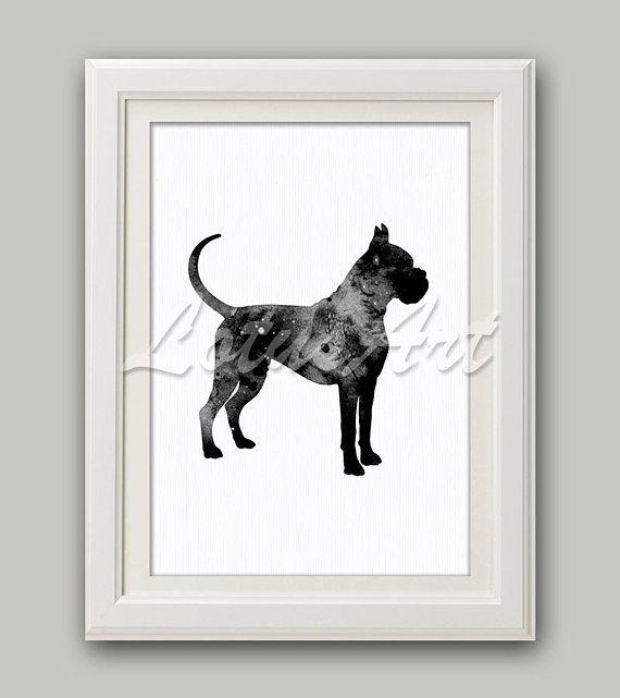 Black Boxer Watercolor Print Boxer Dog Art Black Dog Art Boxer Wall ...