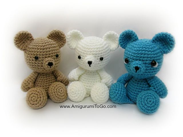 10 FREE Teddy Bear #Crochet Patterns: Small Teddy Bear Free Crochet Pattern by AmigurumiToGo