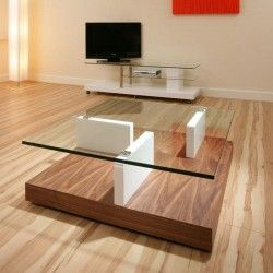 Walnut Bottom White Gloss Centre And Glass Topped Coffee Table