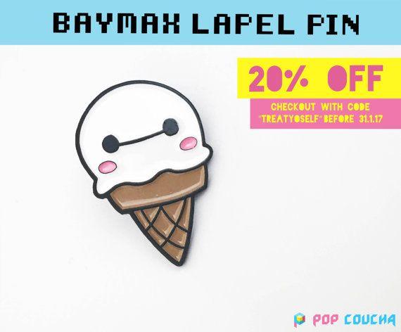 BAYMAX PIN Ice Cream  Enamel Lapel Pin Big Hero 6 by POPxCOUCHA