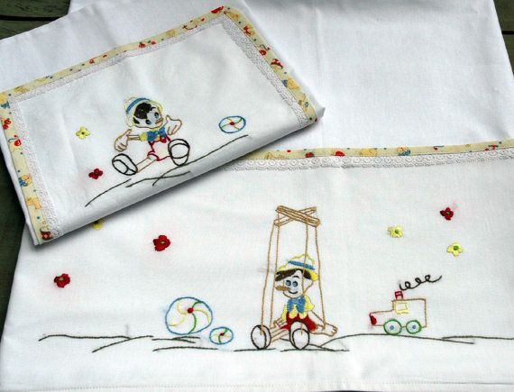 Pinocchio baby linen sheet pillowcase hand by babysdreamfairytales