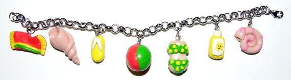 Beach Charm Bracelet by SplatterPalette on Etsy, $12.00