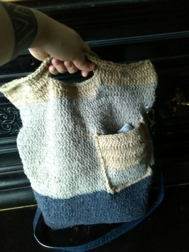 Сумка связанная крючком. Шерсть,бичевка #сумка #вязаниекрючком