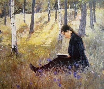 ADA THILEN  (Finnish, 1852-1933) Girl Reading in a Landscape (1896)
