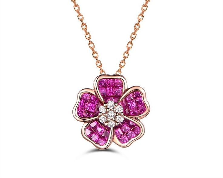 Pendentif or rose Rubis et Diamant