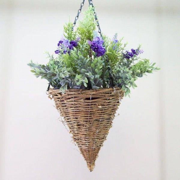 Artificial Hanging Baskets Lavender and Cedar Purple Flowers HAN022
