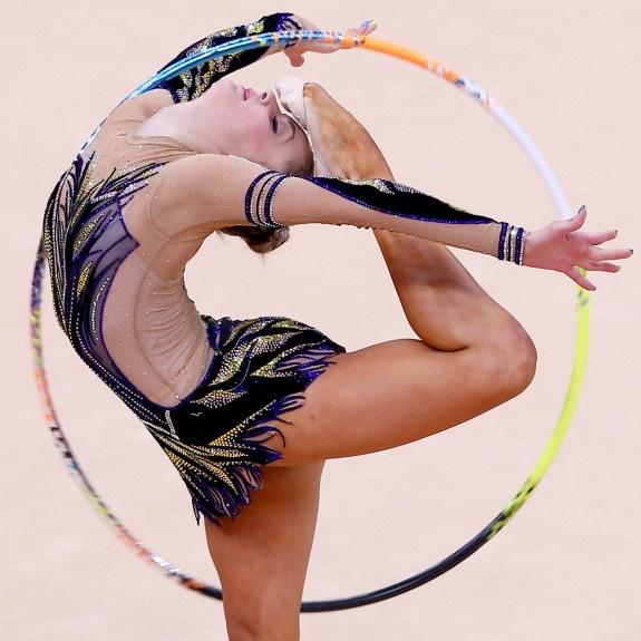 Chrystalleni Trikomiti of Cyprus during Rhythmic Gymnastics competition.