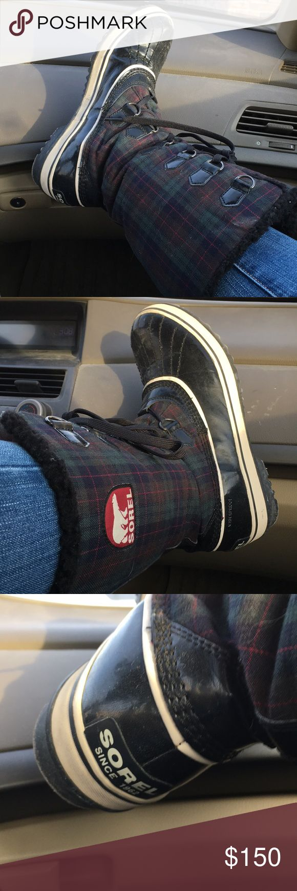 Plaid Sorel Winter Boots Used but in great condition! Plaid is composed of green, blue and red. Interior is lined with black fuzz. Soles are black and white. These say they're a women's 10 but they fit snugly and feel more like 9's.   Cat friendly household 🐱❤️ Smoke free home ✅  Feel free to ask questions and/or offer! Sorel Shoes Winter & Rain Boots