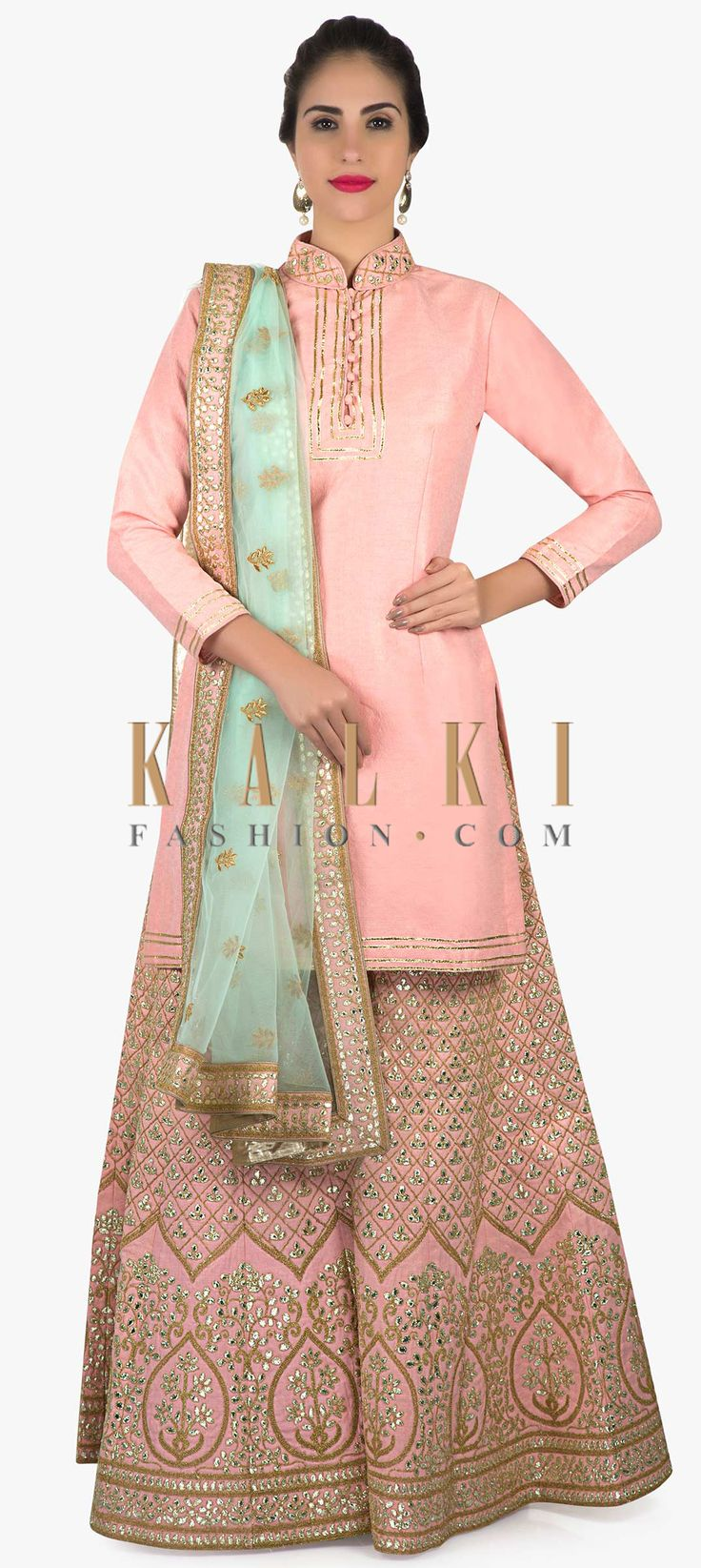 Baby pink palazzo suit in gotta patch and lace embroidery only on Kalki