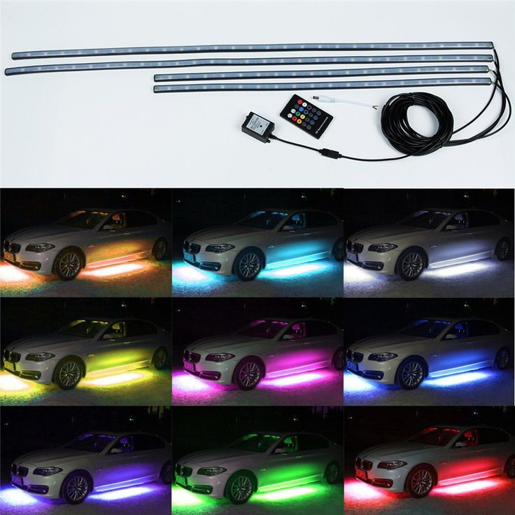 4pcs RGB LED Under Car Glow Underbody System Neon Lights Kit W/sound and Control 60CM+90CM //Price: $51.00      #techie