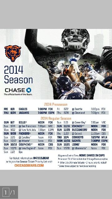 Chicago Bears 2014 schedule. Bear Down!