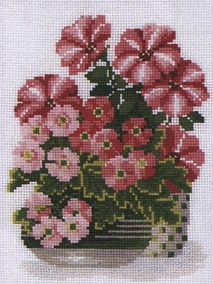 Petunias and Primrose Cross Stitch Kit By Riolis