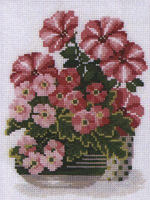 Petunias and Primrose Cross Stitch Kit By Riolis