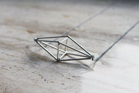 Minimalist structural necklace - himmeli inspired pendant hanging on a thin silver by AlmostDone #etsy