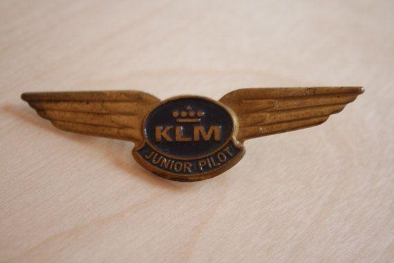 KLM  Junior Pilot vintage large metal tin wings by AviationStuff