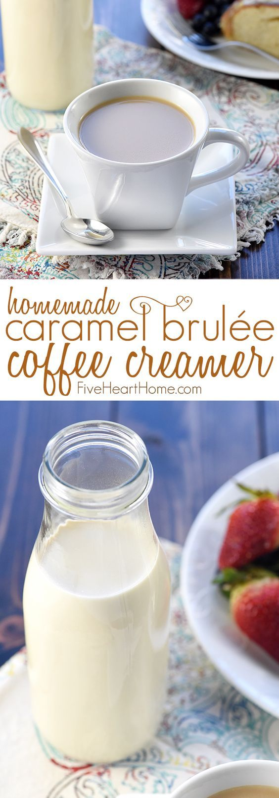 Caramel Brulée Coffee Creamer ~ a quick and easy homemade recipe for making Copycat Starbucks Caramel Brulée Lattes at home!   FiveHeartHome.com