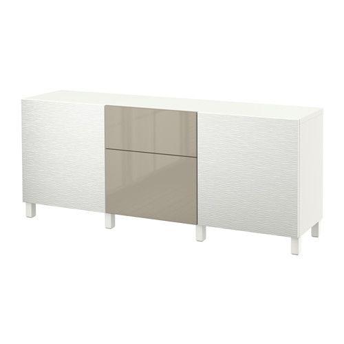 BESTÅ Storage Combination With Drawers   Laxviken White/Selsviken  High Gloss/beige,