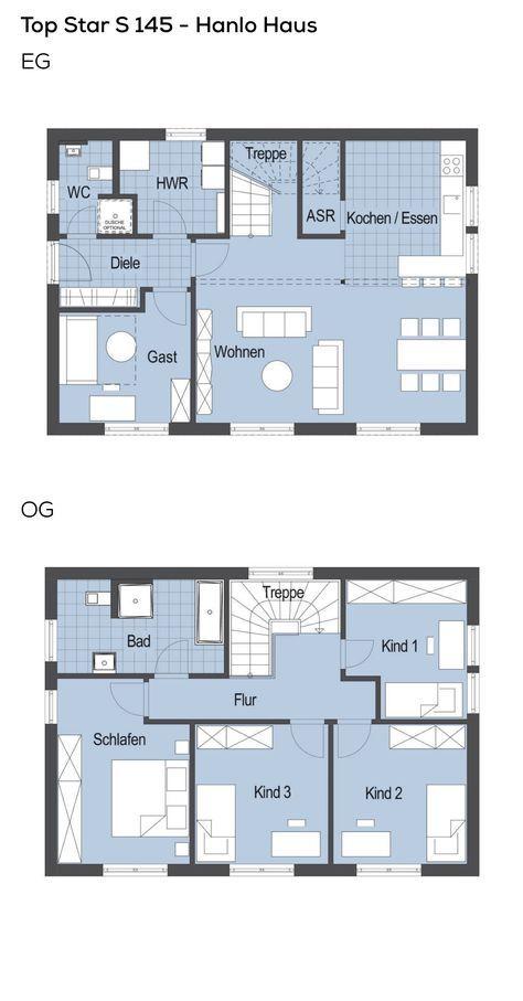 Grundrisse Stadtvilla modern mit Pultdach-Architektur – 6 Zimmer, Grundriss Erdgeschoss Küche offen, Treppe gewendelt, Obergeschoss 3 Kinder – Einfam…