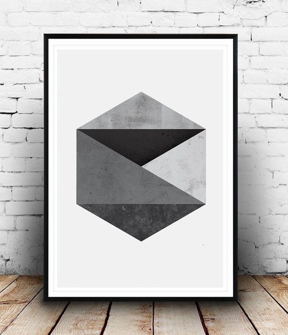 Abstract print, Geometric Art, Hexagon Pattern Print, Black and White Geometric Print, Modern Art, Graphic Poster, Abstract Wall Art  Dimensions