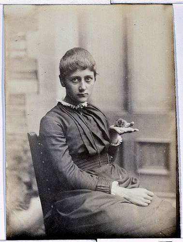 Beatrix Potter loved drawing animals, but she also kept a veritable menagerie as pets through the years. Here, she poses with her pet mouse, Xarifa, in 1885.