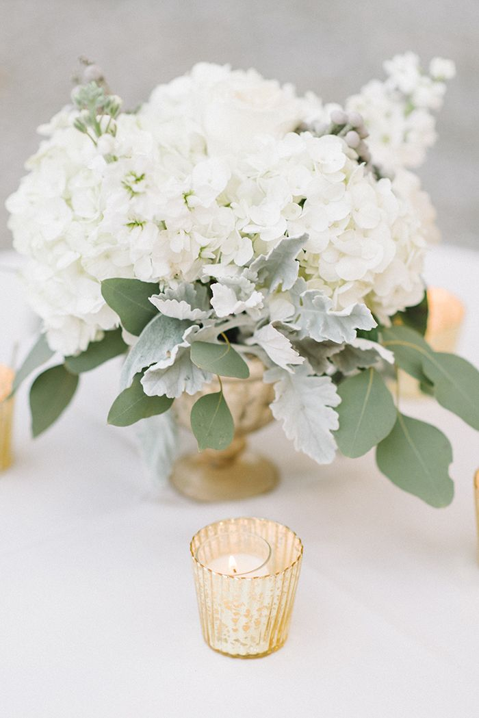 Sage Green and White Centerpiece with Gold Candle Holders