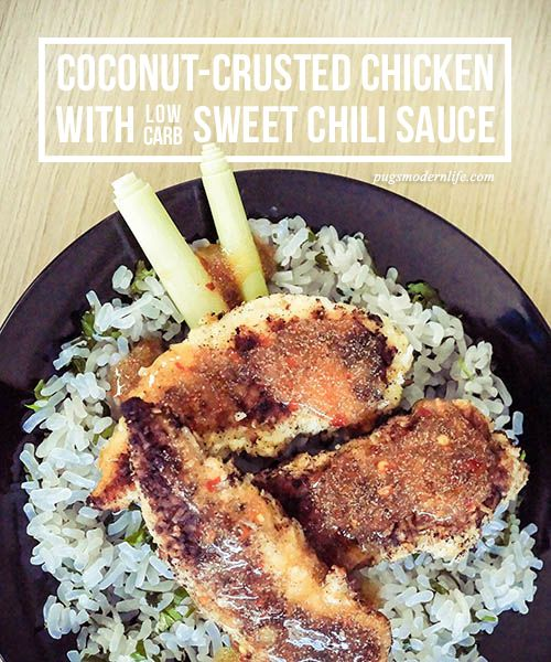 Coconut-crusted chicken with low carb sweet chili sauce
