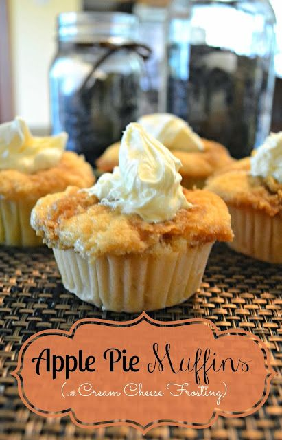 Apple Pie Muffins, this recipe uses apple pie filling for extra sweetness and topped with with cream cheese frosting for an extra decadent treat! Perfect for Thanksgiving!