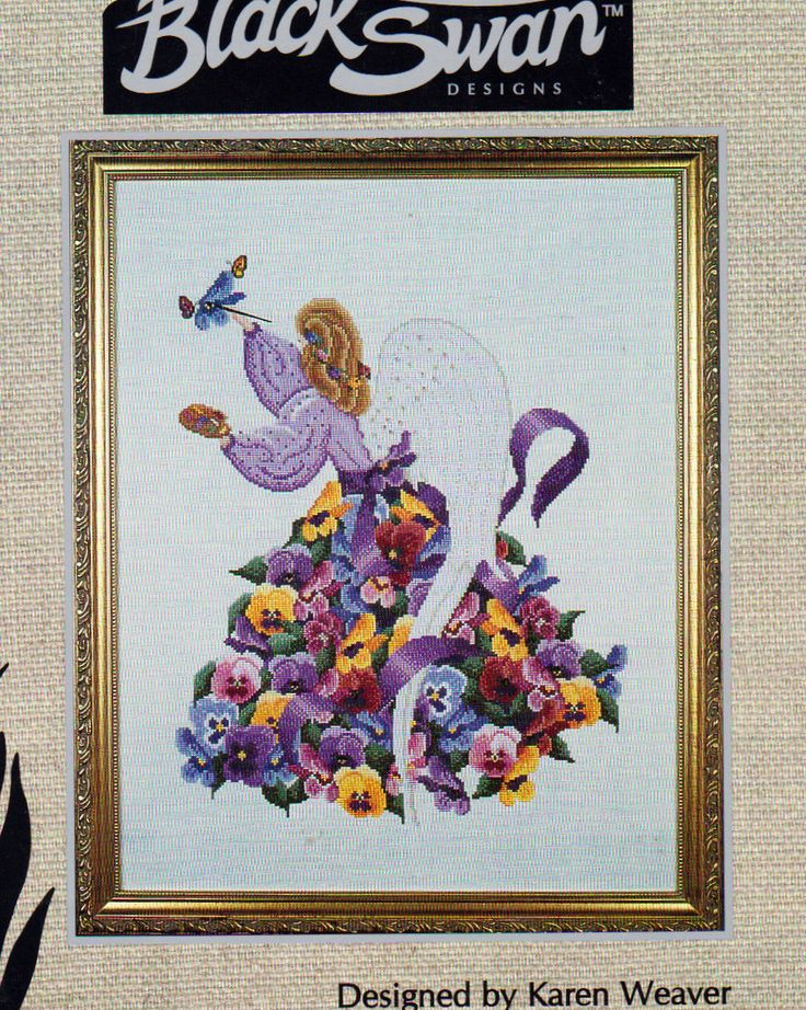 Black Swan Pansy Angel,  Counted Cross Stitch Patterns, Pansy is the 6th in the Flower Angels Series, Karen Weaver Design, Gorgeous Pansies by OnceUponAnHeirloom on Etsy