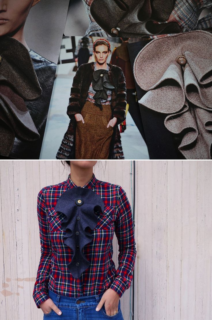 DIY Fendi Frill - love the runway looks but can't afford the price tags? This requires a little bit of sewing skill. After assembling, pin to any blouse, dress or shirt. Could potentially be complicated but super cute! Worth trying!