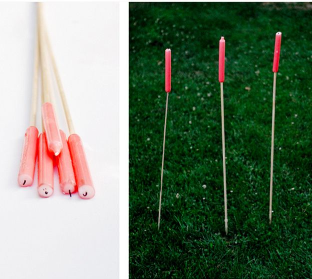 Make candle stakes for romantic nighttime lighting.  Always great ways to make camping fun! #camping #outdoors