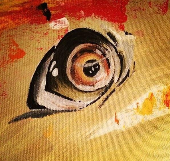 Atlantic salmon Fish eye acrylic painting