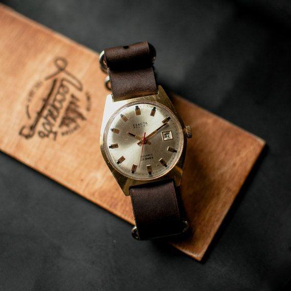 Watch men EXACTA Poljot, gold soviet watch, ussr wristwatches, womens watch, leather watches, soviet watches, leather strap NATO