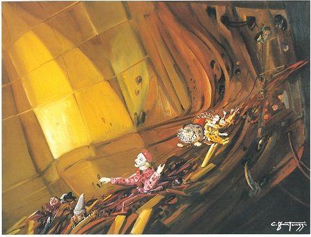 Carlo Fantauzzi ‒ «Ακούγοντας με τα χέρια», «Vertgine» (Ίλιγγος), λάδι σε καμβά, 60Χ80 εκ.  Πηγή: Elio Mercuri, Carlo Fantauzzi, Monti Tipografia, 2000, σελ. 38.
