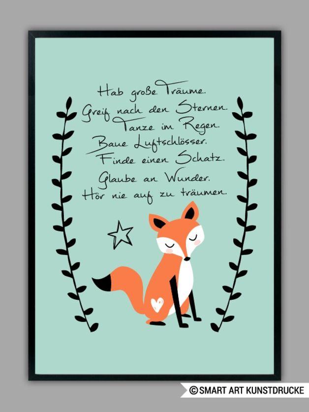 """Originaldruck - """"HAB GROßE TRÄUME"""" Kunstdruck in mint... - ein Designerstück von Smart-Art-Kunstdrucke bei DaWanda"""