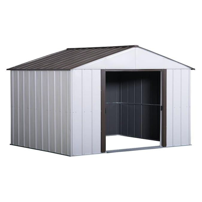 Arrow Common 10 Ft X 8 Ft Interior Dimensions 9 85 Ft X 7 5 Ft Galvanized Steel Storage Shed Lowes Com In 2020 Steel Storage Sheds Steel Sheds Shed