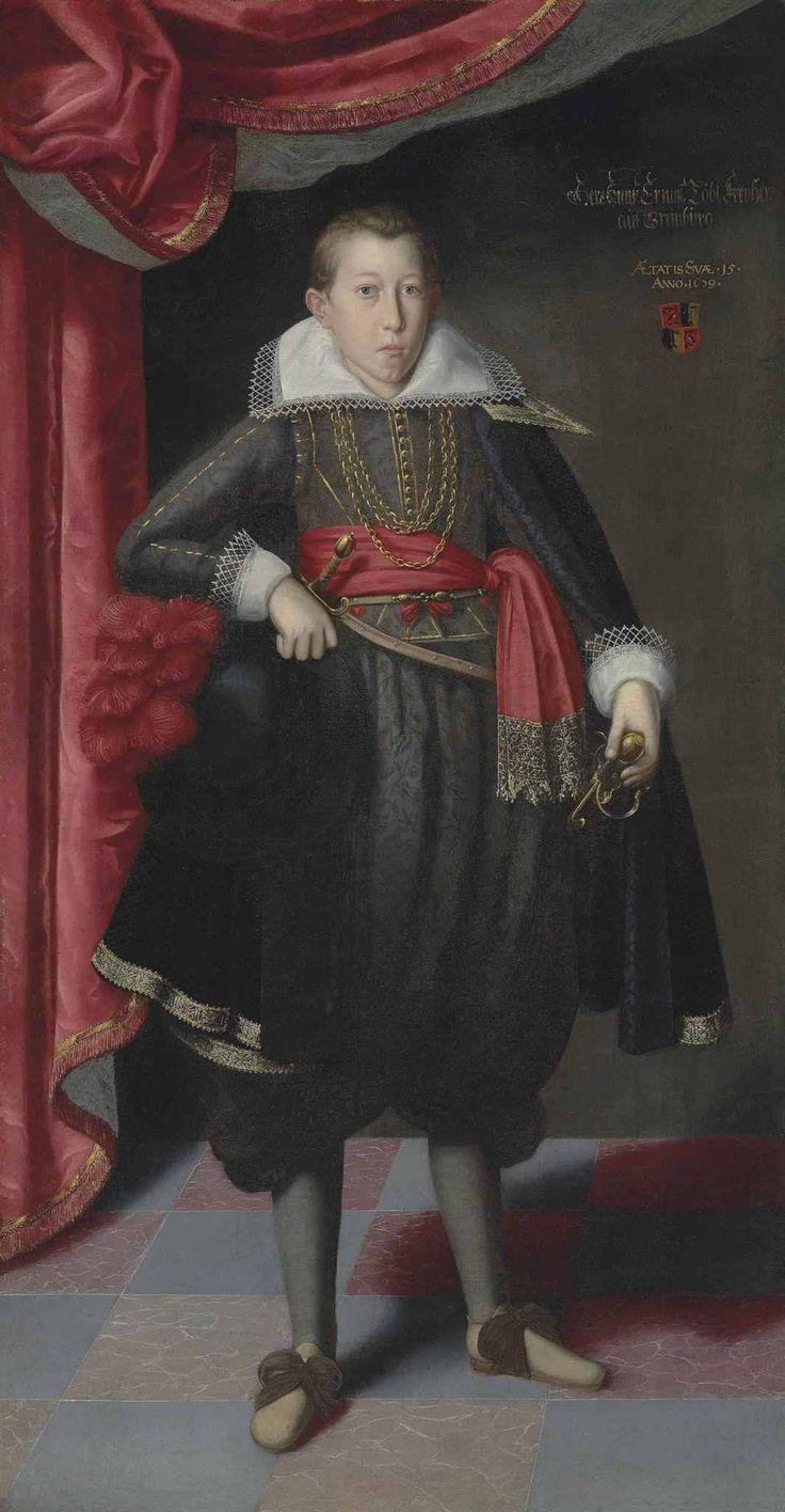 Circle of Lucas van Valckenborch I. Portrait of Freiherr Ernst Löbl of Greinburg, full-length, aged 15, dated 1609. I like the shoes - neither rosettes nor skinny ribbons.