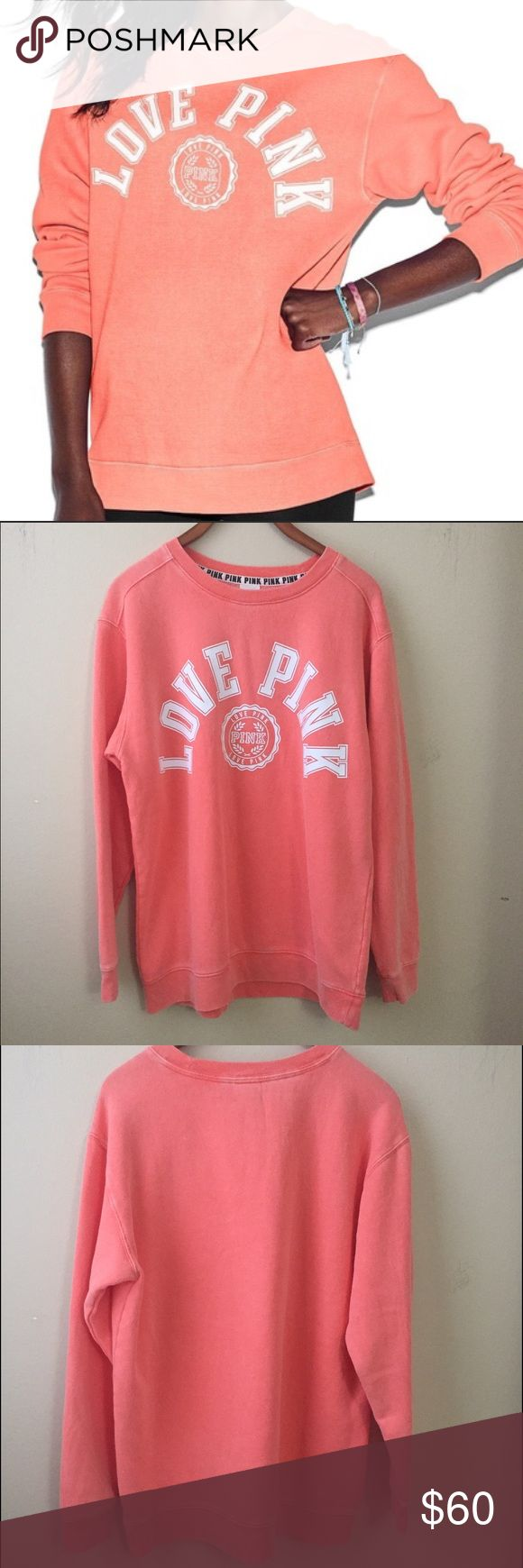 """Victorias Secret PINK Perfect Crew Sweatshirt Authentic new with tag, never worn or tried on. The color is a faded orange/salmon. It has a worn look. White """"Love Pink"""" logo. Women's Size Medium. It is oversized with longer length. First picture if for illustration purposes only. Note that I do my best to show the actual color but due to different screens or lightning conditions the color that you see may be a variant of it. Smoke Free and Pet Free Environment. ❗️No Trade❗️ PINK Victoria's…"""