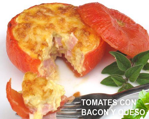 Tomates rellenos de bacon, jamon y queso