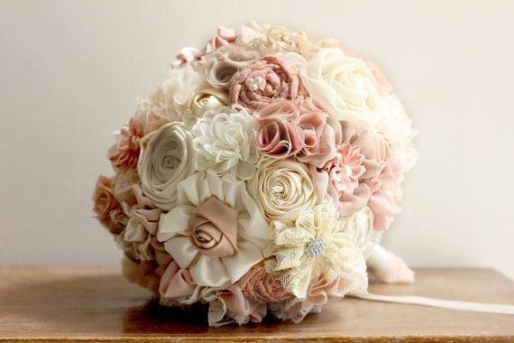 Resereved wedding Bouquet Fabric rustic Bridal by MySecretFace