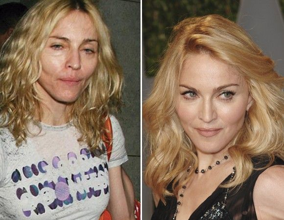 "Madonna with and without makeup...she's still ""gorgeous"" <3"
