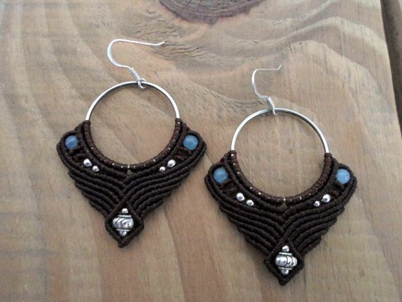 Blue Chalcedony macrame earrings, micro macrame, macrame jewelry, micromacrame earings, macrame stone, bohemian earrings