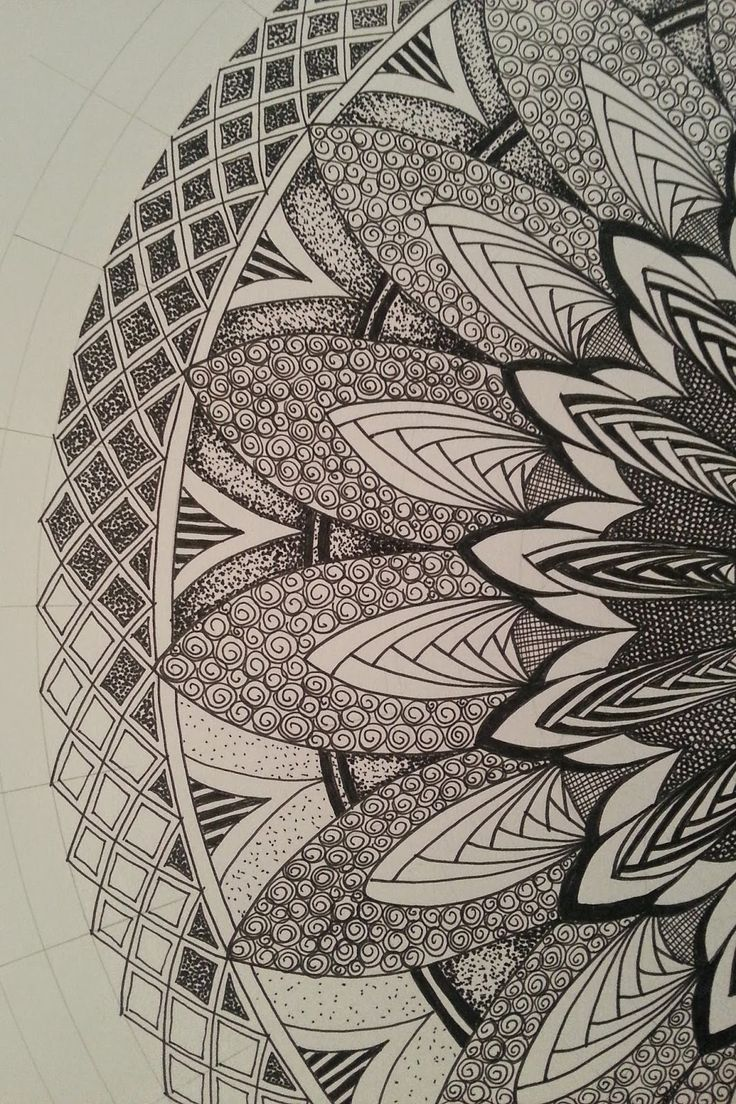 Judy's Zentangle Creations: Half Mandala Feast. looks very art deco to me