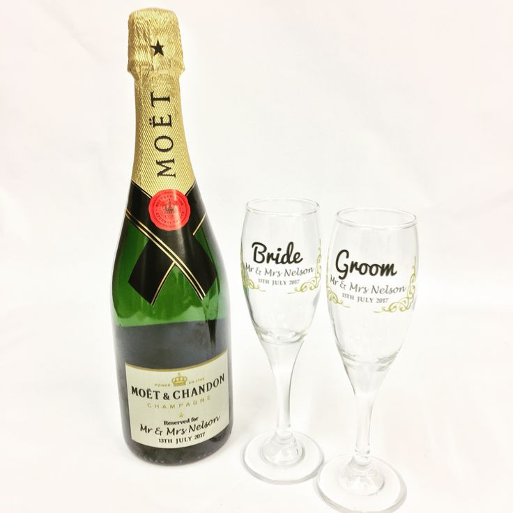 This was a beautifully printed Moët Champagne Bottle with Personalisation. Wonderful wedding idea with matching glasses. Textured print with gold metallic finish to it.   Came out really nice. Ideal for anniversary, weddings, hen nights.