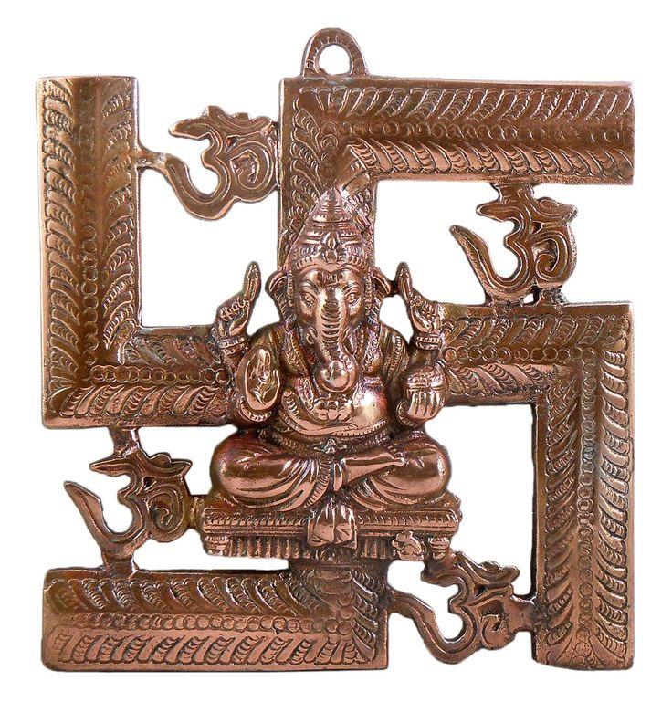 Ganesha Sitting on Swastika - Wall Hanging (Black Metal)
