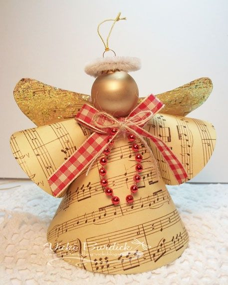 Christmas Angels...great way to recycle some old sheet music and use up craft scraps.