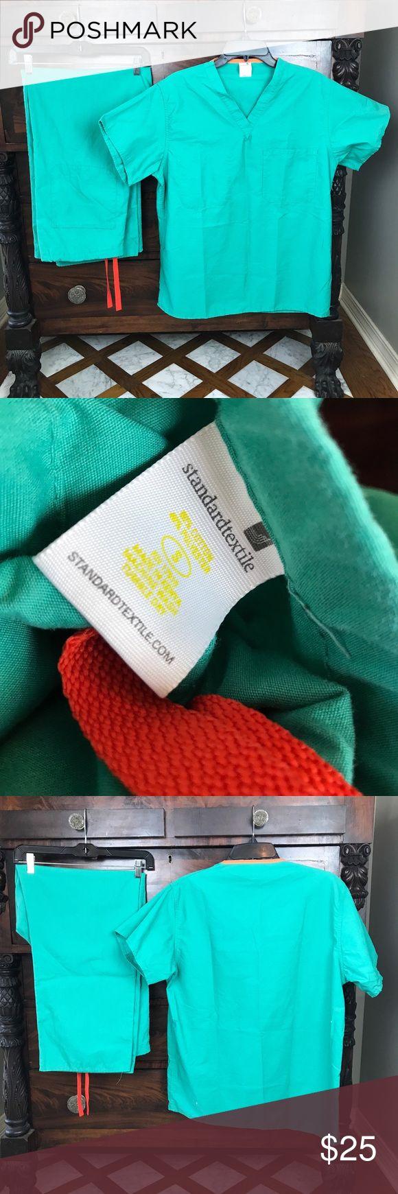 Standard textile scrubs set Teel and orange scrubs Size small Other